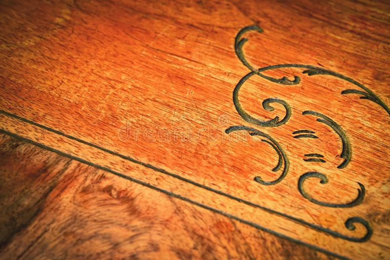 Detail of old wooden furniture royalty free stock photography