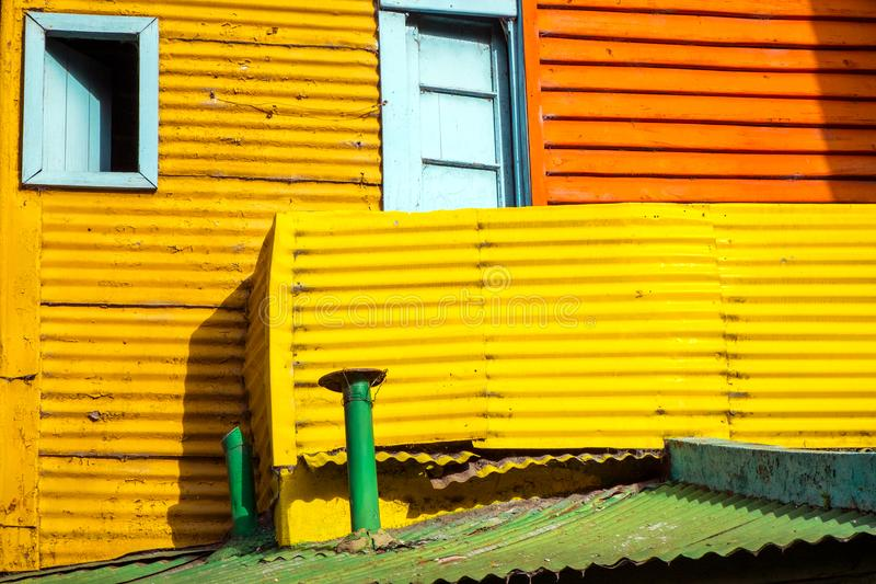 Detail of one of the colorful houses in La Boca. Buenos Aires royalty free stock photo