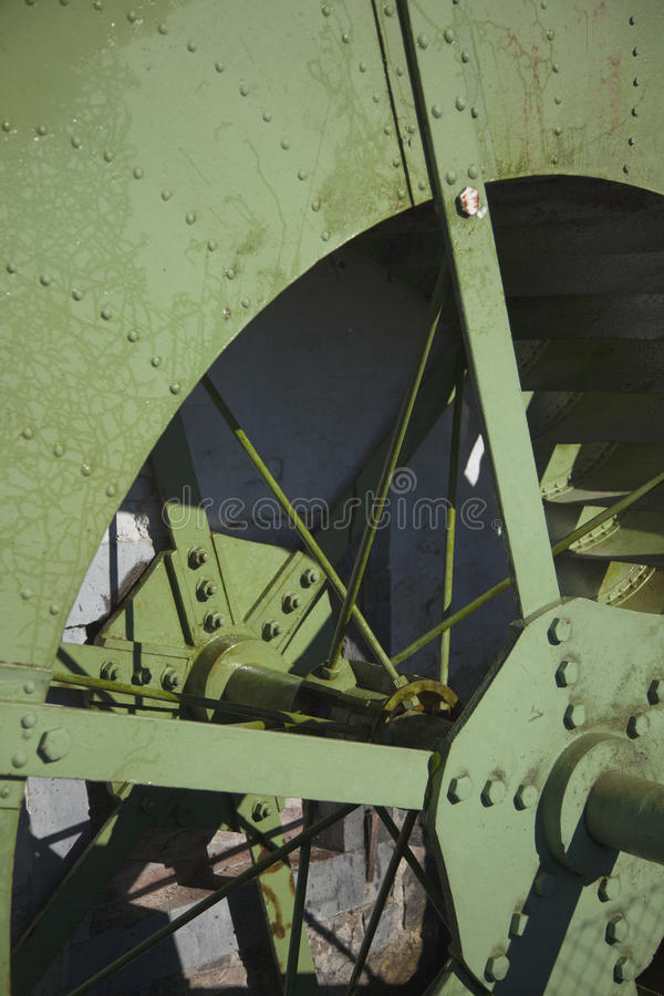 Detail of one old steel impeller. stock images