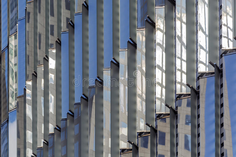 Detail of the One World Trade Center. Extreme close up of the glass windows exterior of One World Trade Center in New York royalty free stock image