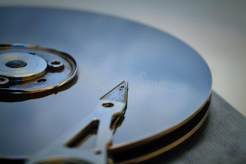 Detail of an opened computer hard disc drive royalty free stock images