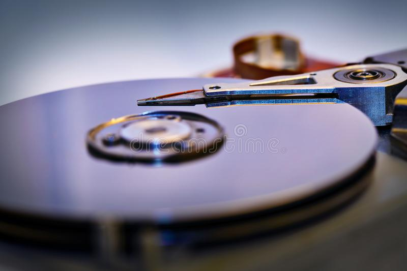 Detail of an opened computer hard disc drive royalty free stock photos
