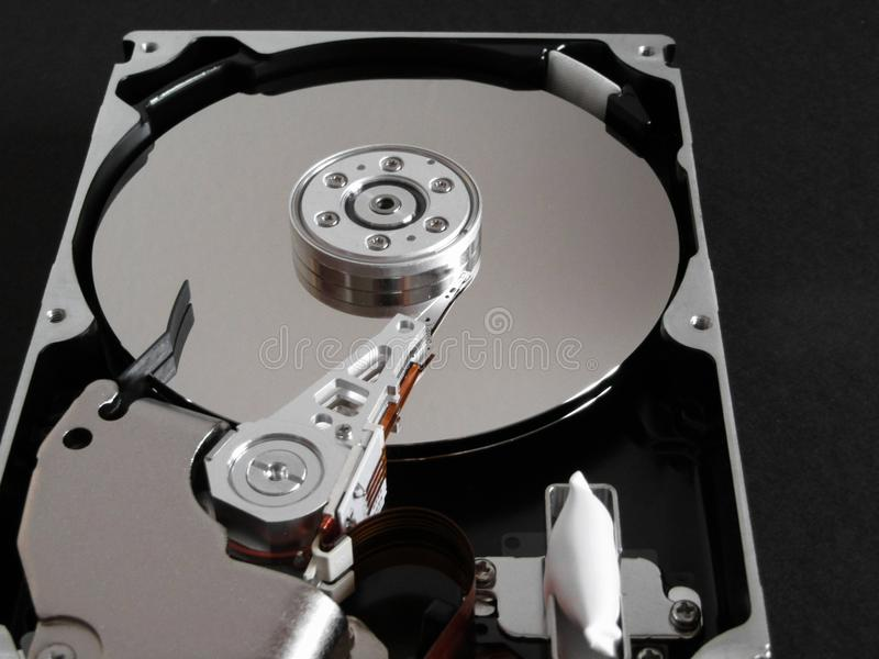 Detail from an opened hard disk stock photos