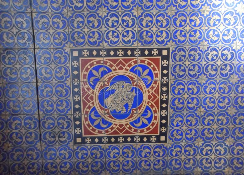 Ancient Medieval Church Blue Floor Tiles royalty free stock photography