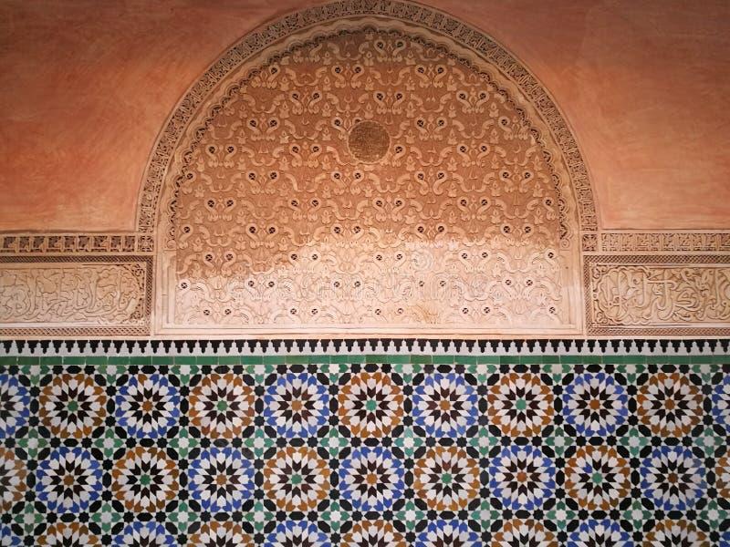 Detail over Madrasa van Ben Youssef stock fotografie