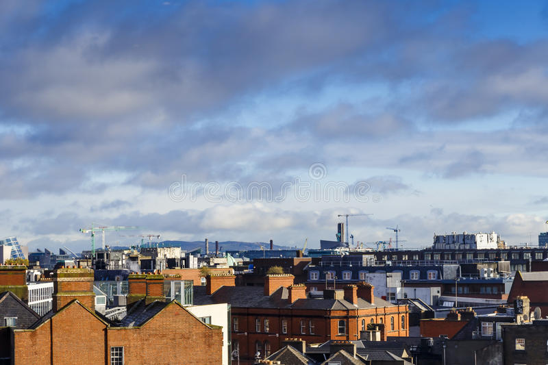Detail of a panoramic view over Dublin city centre royalty free stock images