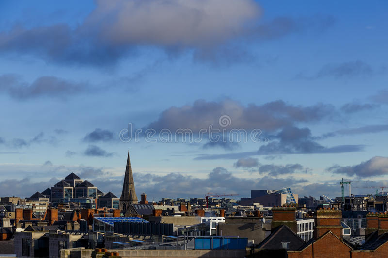 Detail of a panoramic view over Dublin city centre stock photo