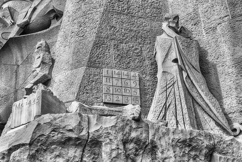 Detail of the Passion Facade, Sagrada Familia, Barcelona, Catalonia, Spain. BARCELONA - AUGUST 9: Detail of the Passion Facade of the Sagrada Familia, the most stock photos