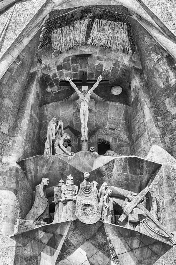 Detail of the Passion Facade, Sagrada Familia, Barcelona, Catalo. BARCELONA - AUGUST 9: Detail of the Passion Facade of the Sagrada Familia, the most iconic royalty free stock image