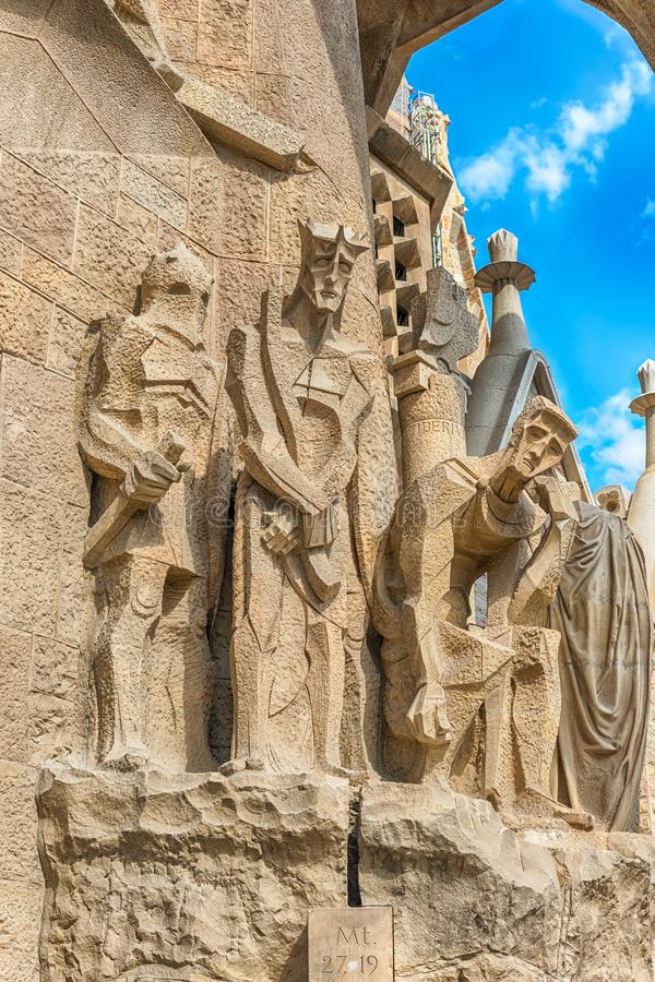 Detail of the Passion Facade, Sagrada Familia, Barcelona, Catalonia, Spain. BARCELONA - AUGUST 9: Detail of the Passion Facade of the Sagrada Familia, the most stock photo