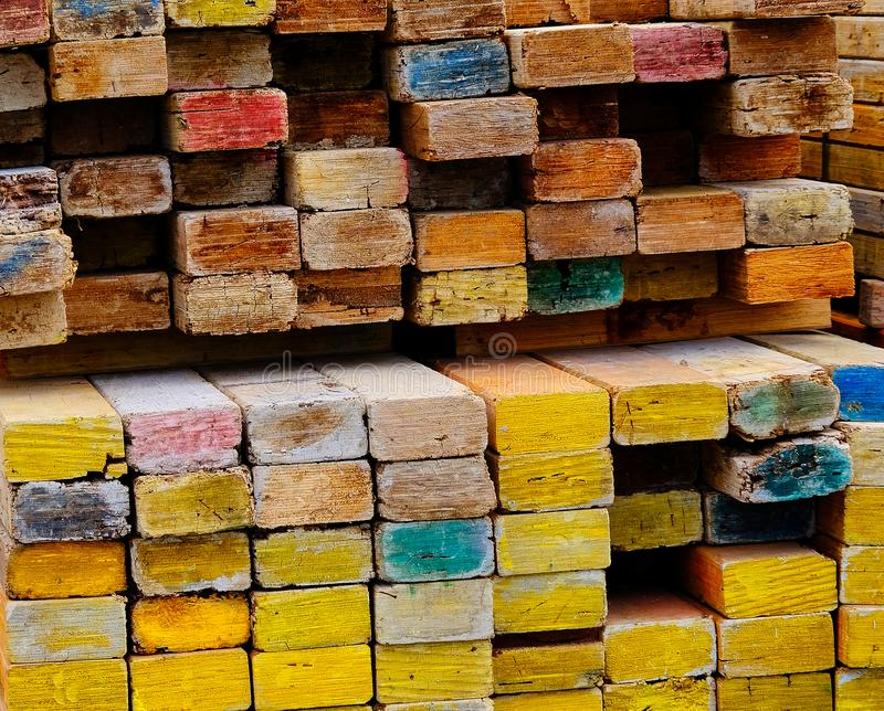 Detail Pattern of Wooden Beams on Construction Site stock photos