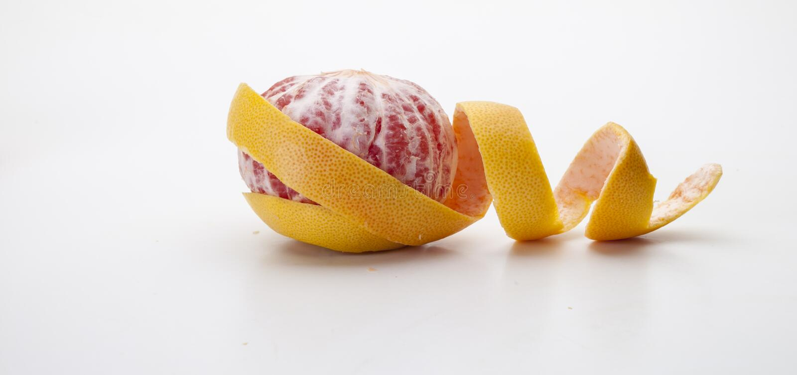 Detail of a grapefruit and its shell stock photos