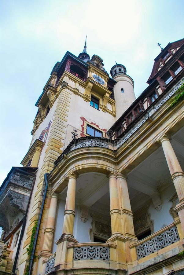 Detail of Peles Castel in Romania stock photography