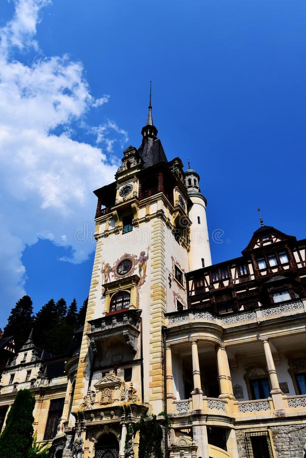 Detail of Peles Castle in Sinaia - Romania. Peles Castle in Sinaia, the summer residence of the kings of Romania, was built at the wish of King Carol I of stock photo