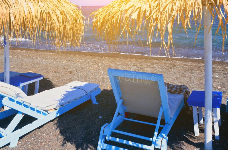 Detail of Perissa beach Black Beach on Santorini island, Greece stock photo