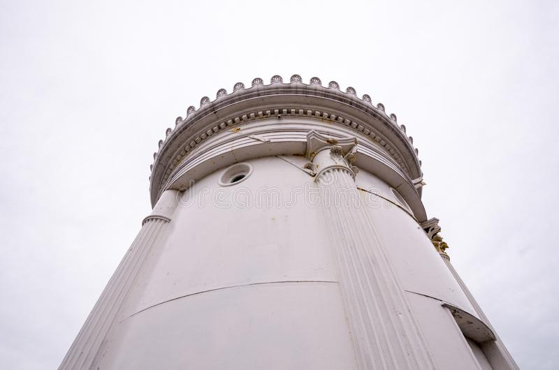 Bug Lighthouse in Portland Maine, United States, on Cape Elizabeth. Detail photo of the top of the Bug Lighthouse in Portland Maine, United States, on Cape stock images