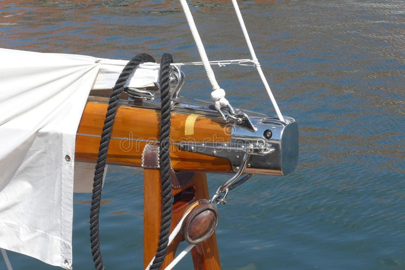 Detail photos of a sailing yacht, piece of the mast tree stock photo