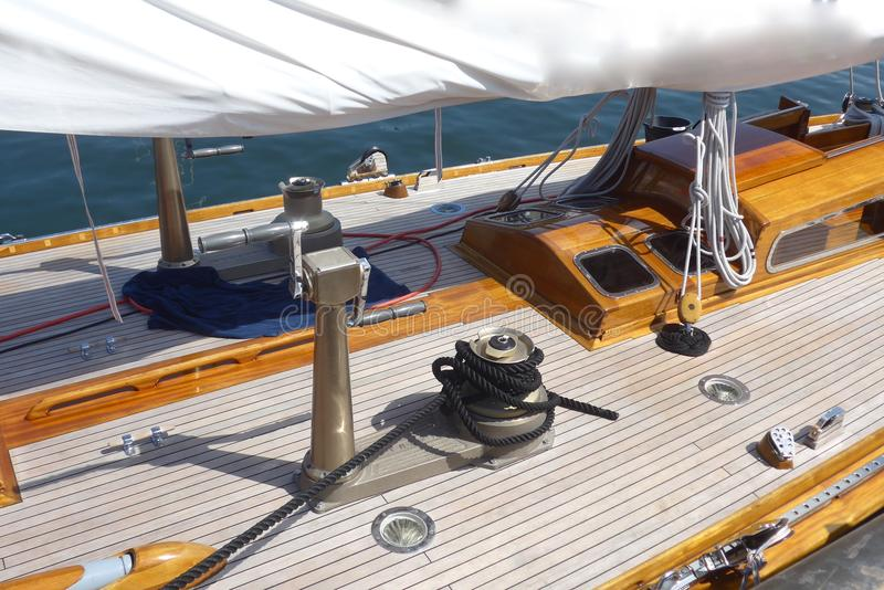 Detail photos of a sailing yacht, teak deck royalty free stock photography