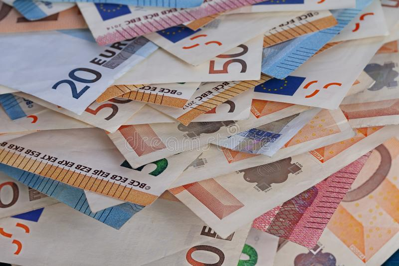 Detail of a pile of legal euro bills royalty free stock images