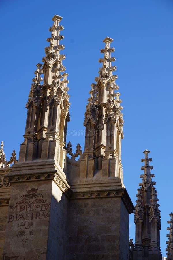 Detail of pinnacles at Granada Cathedral, Spain stock photography