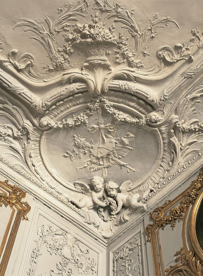 Detail of plaster work on ceiling and walls at Versailles Palace royalty free stock photos