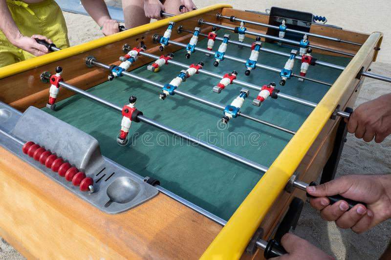 Mini football game table in close up view royalty free stock photo