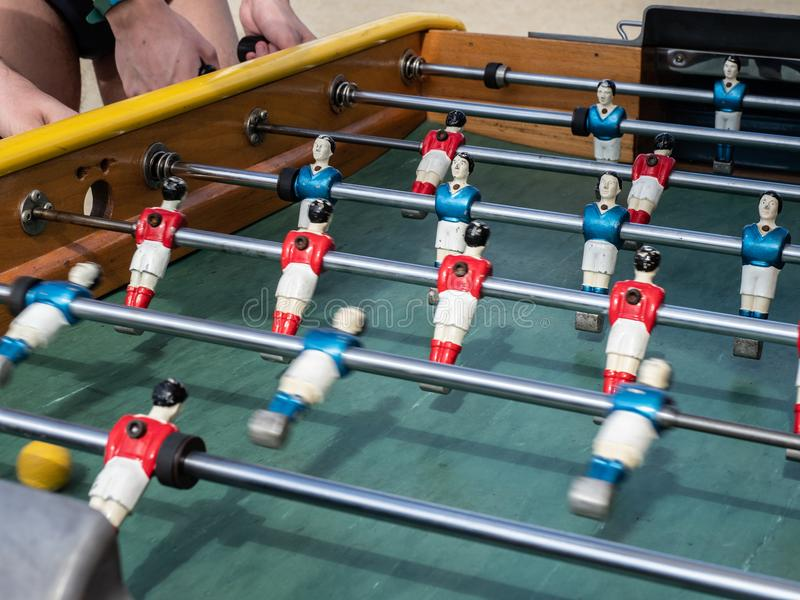 Mini football game table in close up view royalty free stock image