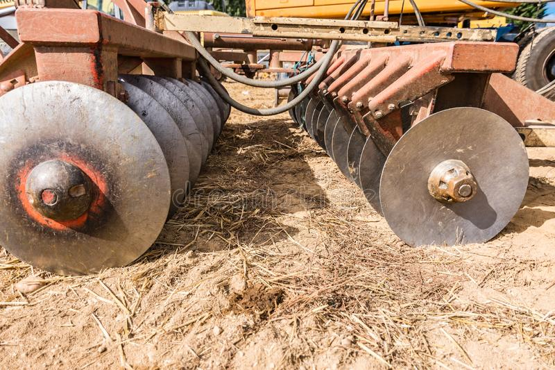 Detail of a plow fundamental part of a tractor to plant.  royalty free stock photo
