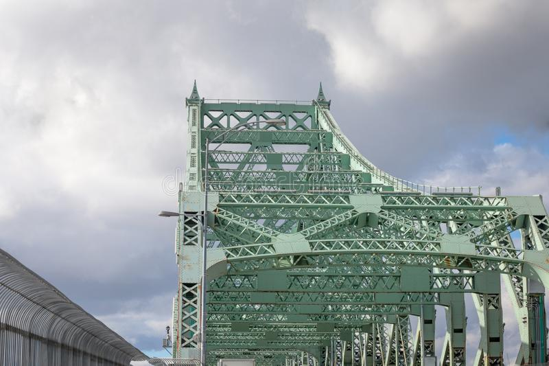 Detail of Pont Jacques Cartier bridge taken in Longueuil in the direction of Montreal, in Quebec, Canada. The Jacques Cartier Bridge, or Pont Jacques Cartier is stock photos