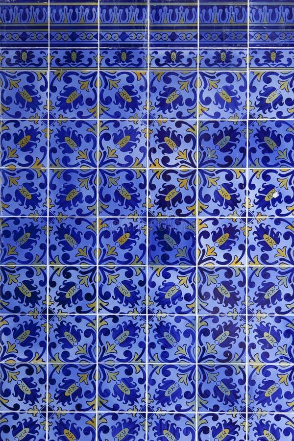 Detail of Portuguese tiles. Detail of Portuguese glazed blue tiles royalty free stock image