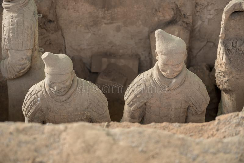 Terracotta Army warriors buried in Emperor tomb outside Xian China stock photography