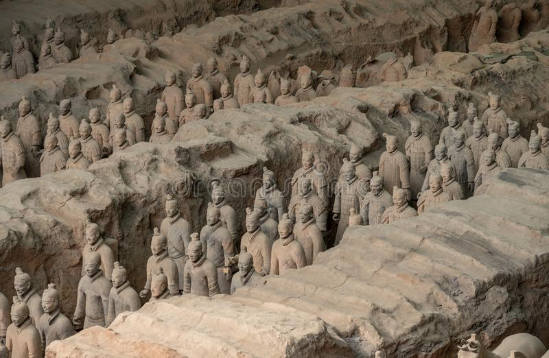 Terracotta Army warriors buried in Emperor tomb outside Xian China royalty free stock photo