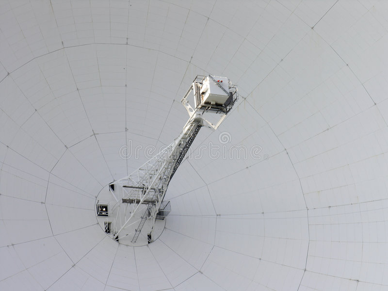 Detail of radio telescope. Detail of the centre of giant radio telescope at jodrell bank royalty free stock image