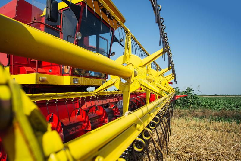 Detail of combine harvester blades stock photo