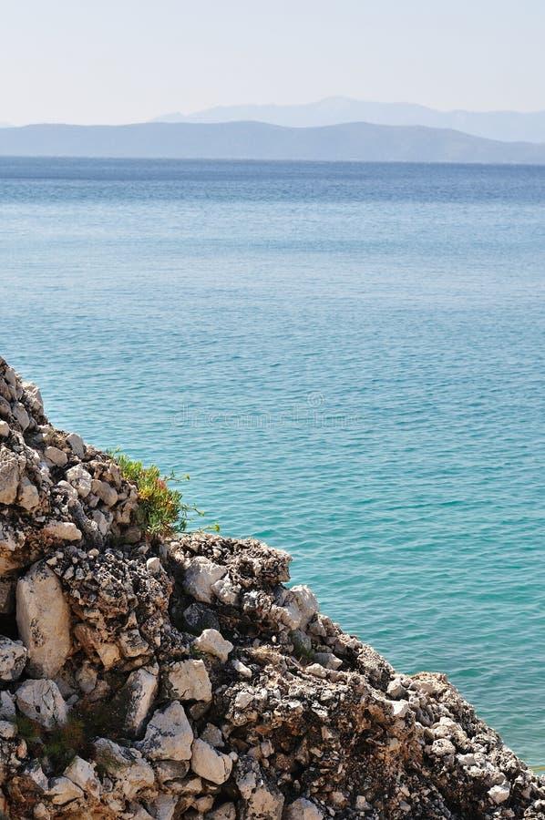 Detail of reef with adriatic sea. Podgora, Croatia stock image