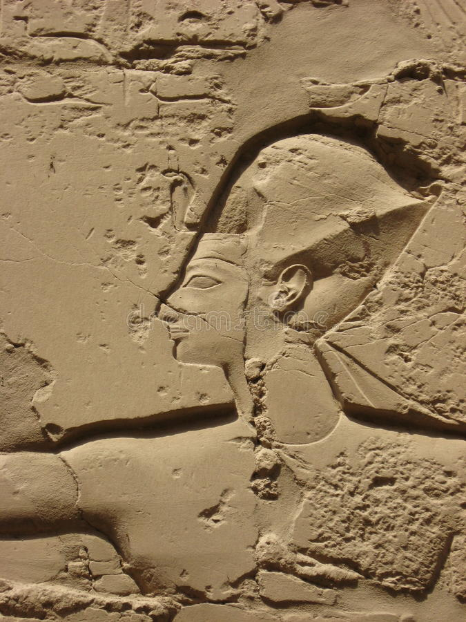 Detail of relief on the wall in Karnak temple royalty free stock images