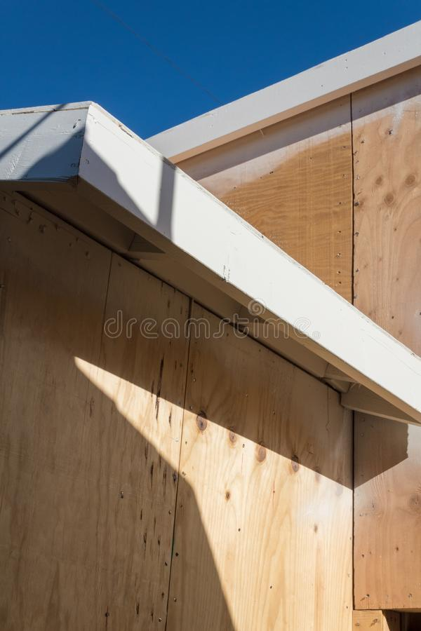 Download Detail Of Renovation Or New Construction Building Exterior With  Spray Painted Fascia Board And Plywood
