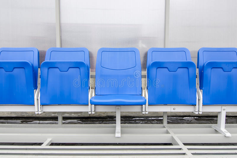 Detail of Reserve chair and staff coach bench in sport stadium stock image