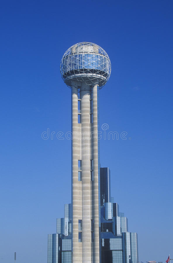 Detail of Reunion Tower in Dallas, TX royalty free stock photography