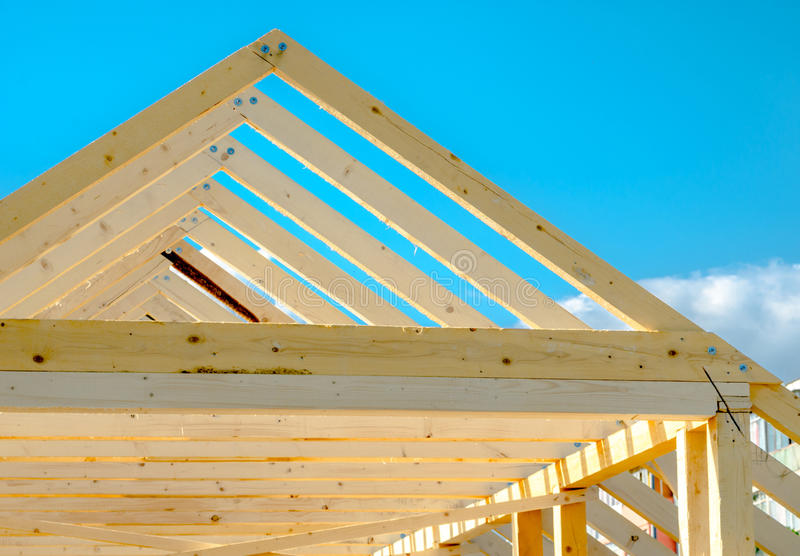 Detail of roof frame under construction royalty free stock photography