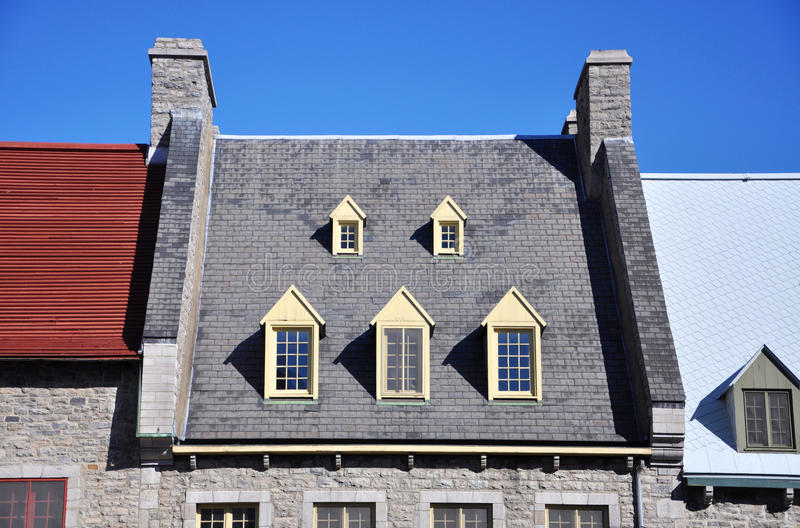 Roof of Quebec House, Quebec City,Canada. Detail of Roof of Historic Quebec House, Quebec City, Quebec,Canada stock photography