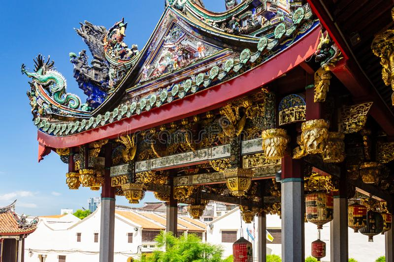 Detail of the roof of Khoo Kongsi clanhouse, in the UNESCO World Heritage site part of Georgetown in Penang, Malaysia royalty free stock images