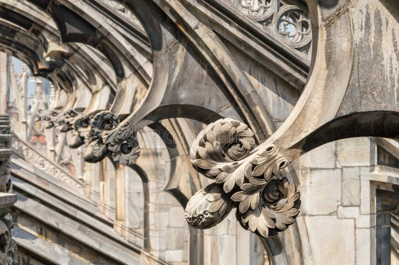 Detail on the roof of Metropolitan Cathedral-Basilica of the Nativity of Saint Mary in Milan. stock images