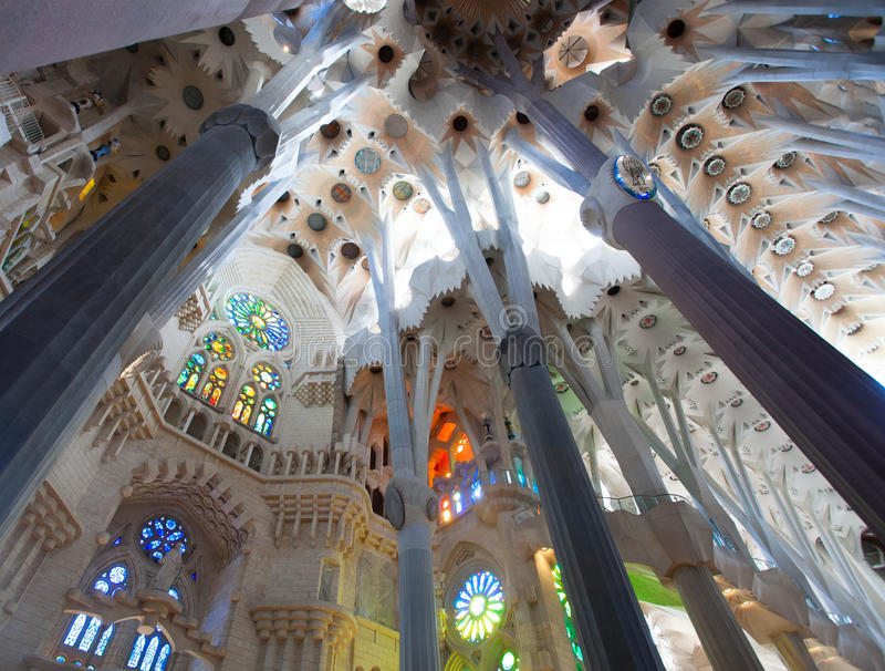 Detail of the roof in the nave. BARCELONA, SPAIN - APRIL 29: Sagrada Familia is a large Roman Catholic church in Barcelona, Spain, designed by Catalan architect royalty free stock images