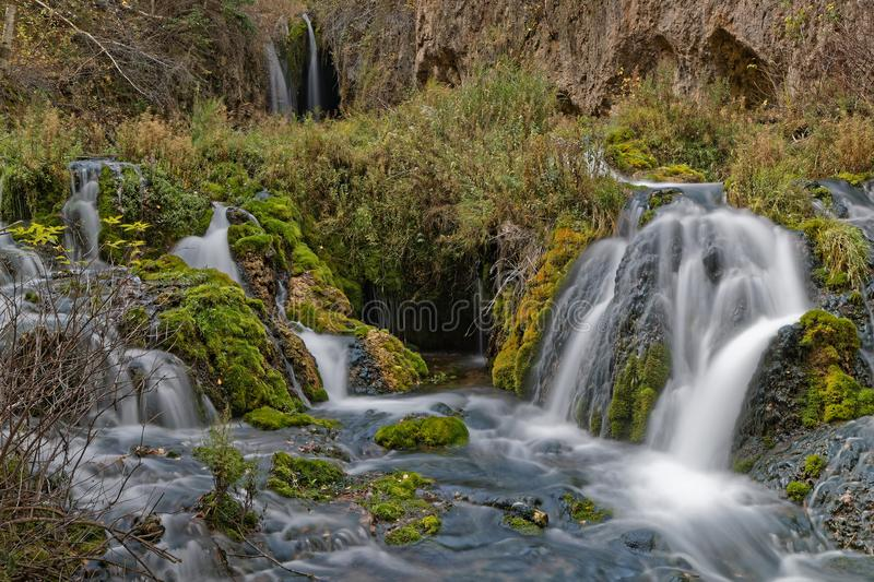 Detail of Roughlock falls, Spearfish Canyono. Roughlock Falls, in Spearfish canyon, South Dakota low speed stock photos