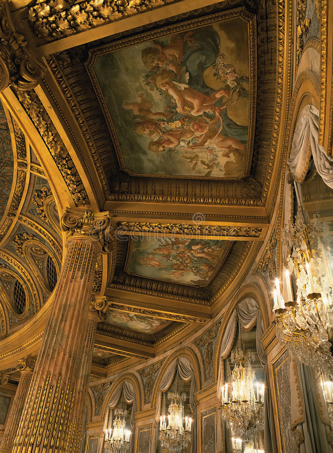 Detail of the royal opera ceiling at Versailles Palace stock photography