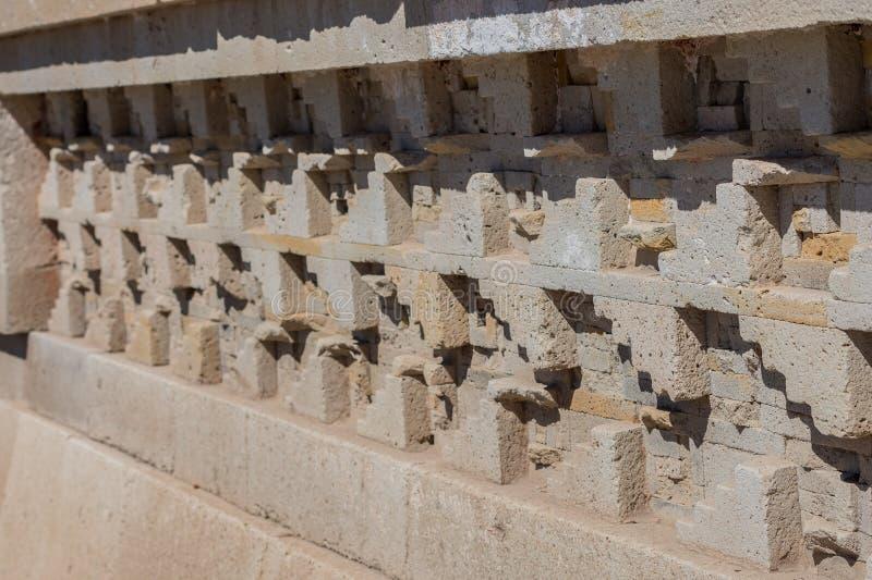 Ruins in Mitla near Oaxaca city. Zapotec culture center in Mexico. Detail of ruins in Mitla near Oaxaca city. The most important of the Zapotec culture centers royalty free stock photography