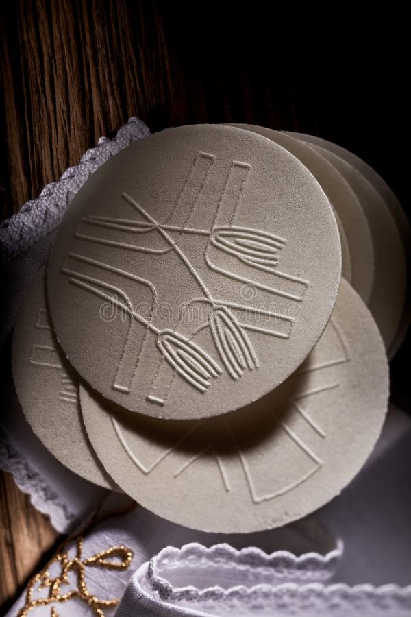 Detail of the Sacramental bread or Hosties. Made of wheat flour symbolising the Body of the resurrected Christ used by the priest during Holy Communion stock photography