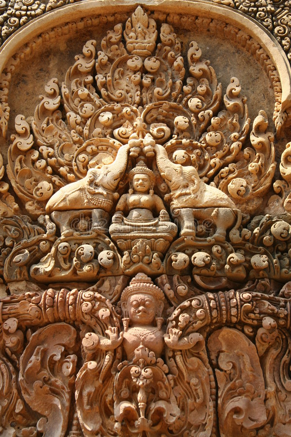 Detail sculpture in Angkor Wat royalty free stock image