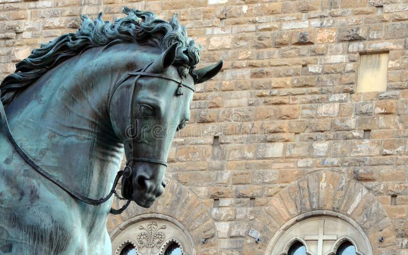 Detail of the sculpture by Cosimo De` Medici on horseback - Florence.  royalty free stock photos